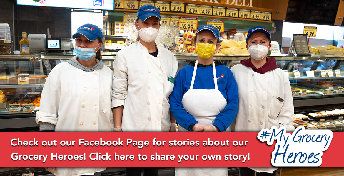 4 deli grocery employees standing with masks and gloves on during the Covid-19 pandemic highlighting the My Grocery Heroes campaign