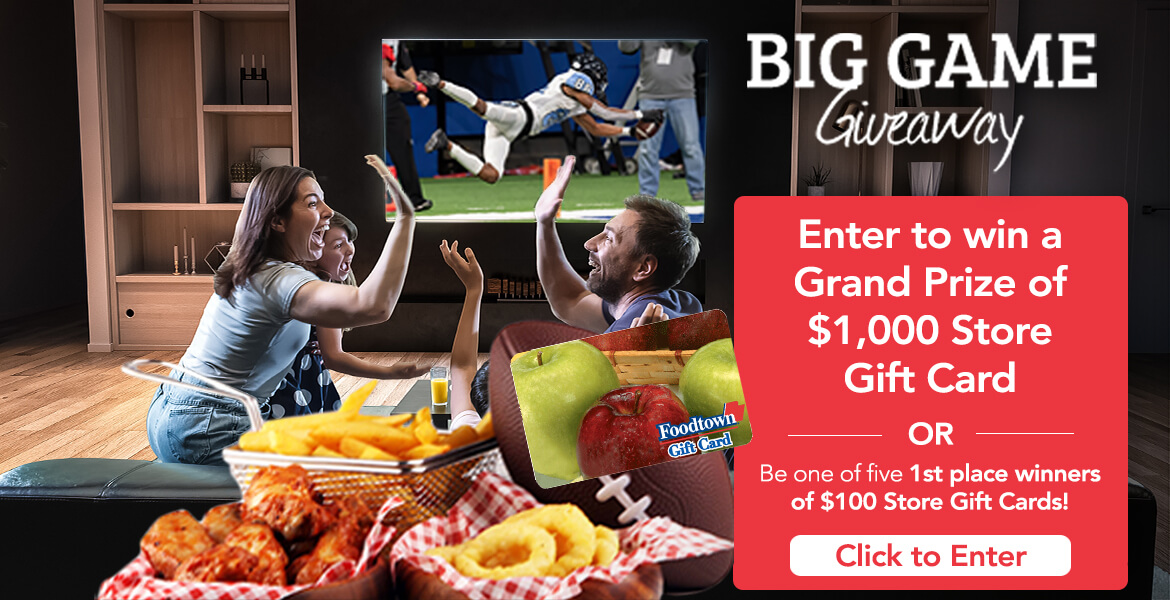 a family gathered around watching football on television with food on the table. The text on the image reads Enter to win a grand prize of $1,000 store gift card or be one of 5 1st place winners of $100 store gift cards. Click to enter
