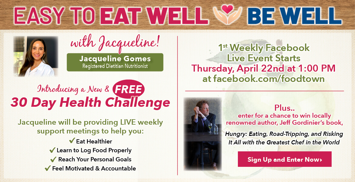 Registered Dietitian Jacqueline Gomes. Text on the image is introducing a new and free 30 day health challenge. 1st weekly Facebook live event starts Thursday, April 22nd at 1:00 PM. Sign up and enter now.