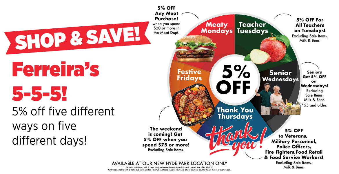 an ad advertising New Hyde Park Foodtown location. Text on the ad reads, shop and save with Ferreira's 5-5-5! 5% off five different ways on five different days!